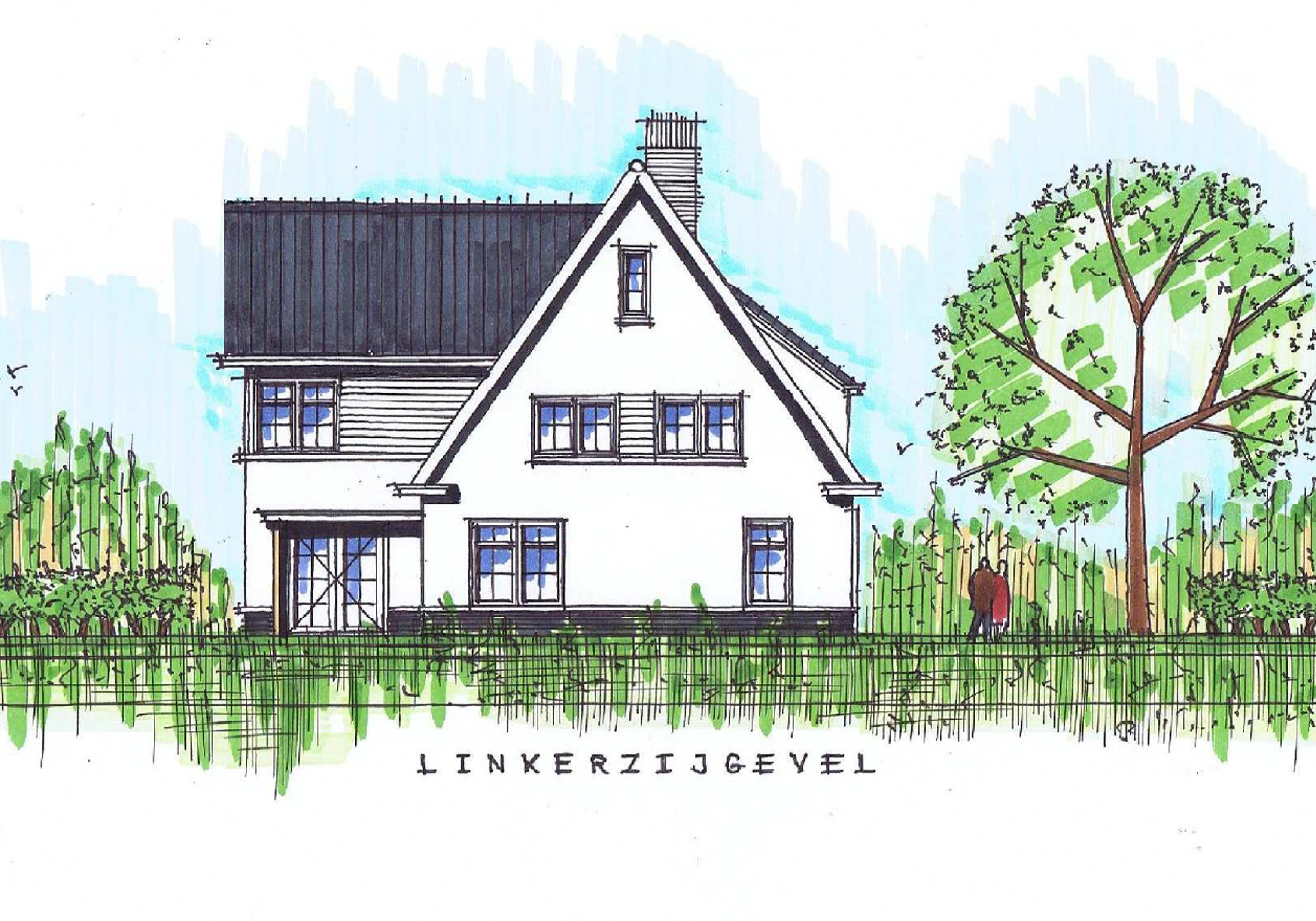 schetsontwerp van witte landelijke woning